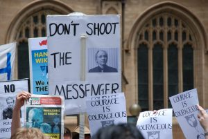 Protests to support WikiLeakds founda Julian Assange in scandal