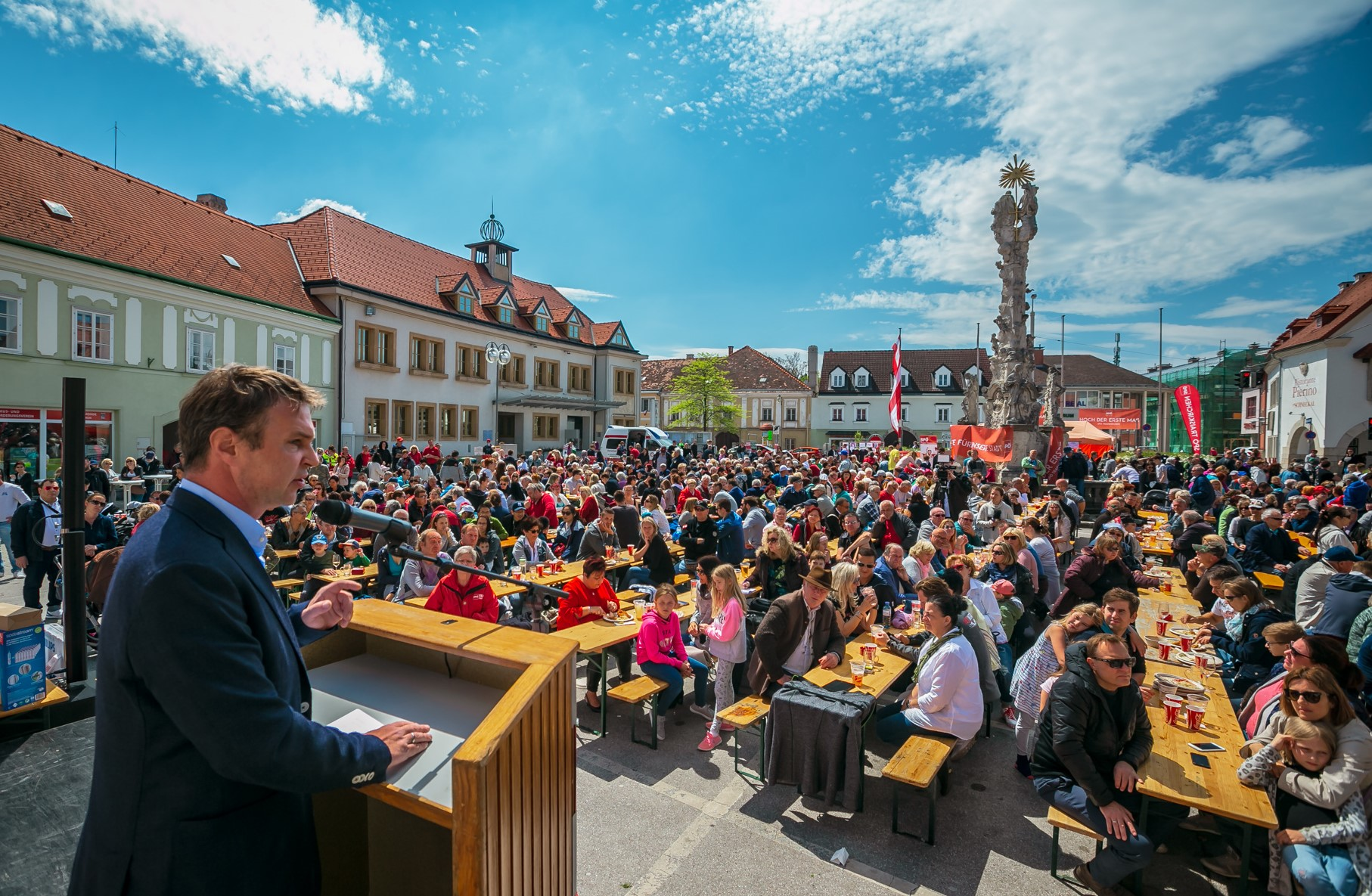 About 20,000 people live in Traiskirchen in Lower Austria, Mayor is Andreas Babler, there is also a refugee camp