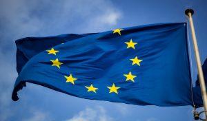 upper top of a waving eu flag